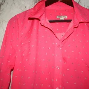 Merona Pink Polka Dot Button Down Top Medium